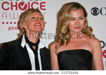 Ellen DeGeneres and Portia de Rossi in the press room at The 33rd Annual People's Choice Awards. Shrine Auditorium, Los Angeles, CA. 01-09-07 - stock photo