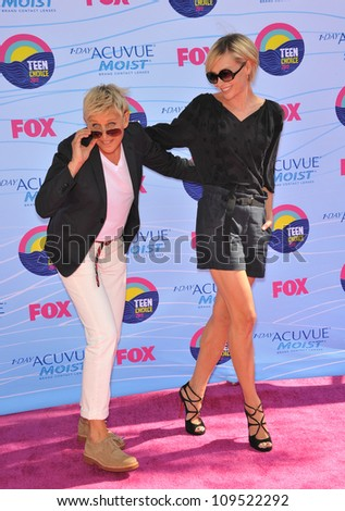 Ellen Degeneres & Portia De Rossi at the 2012 Teen Choice Awards at the Gibson Amphitheatre, Universal City. July 23, 2012  Los Angeles, CA Picture: Paul Smith / Featureflash - stock photo