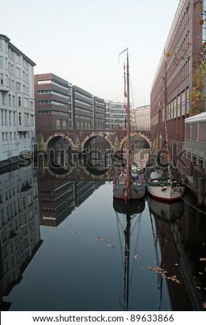 Ellerntorbrücke is the oldest bridge in Hamburg - stock photo