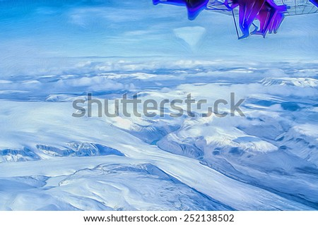 Ellesmere island from the air, photo art - stock photo