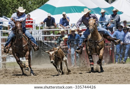 Ellicottville, New York - July 3 : Cowboy Participating Competition. Championship Rodeo, Located in the beautiful Enchanted Mountains that surround Ellicottville New York, USA on July 3 2010