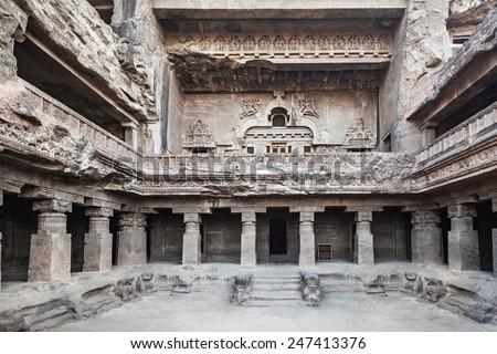 Ellora caves near Aurangabad, Maharashtra state in India - stock photo
