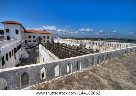 Elmina Castle (also called the Castle of St. George) is located on the Atlantic coast of Ghana west of the capital, Accra. It is part of the UNESCO World Heritage Site. - stock photo