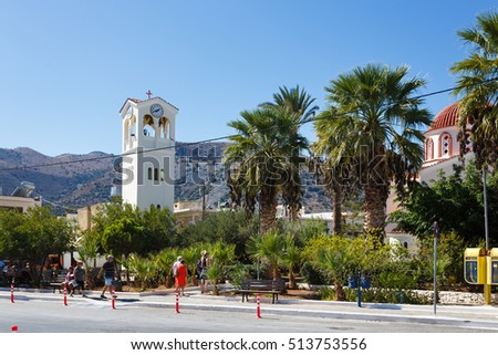 Elounda, Greece - October 14 2016: The tower of the Church of Agios Konstantinos and Agia Eleni in Elounda city, Greece