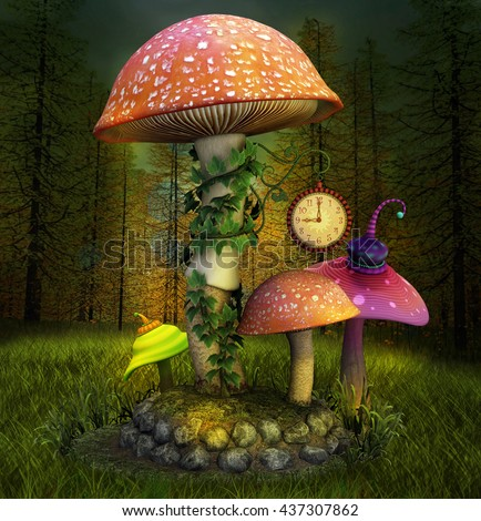 Elves enchanted mushrooms place - 3D illustration - stock photo