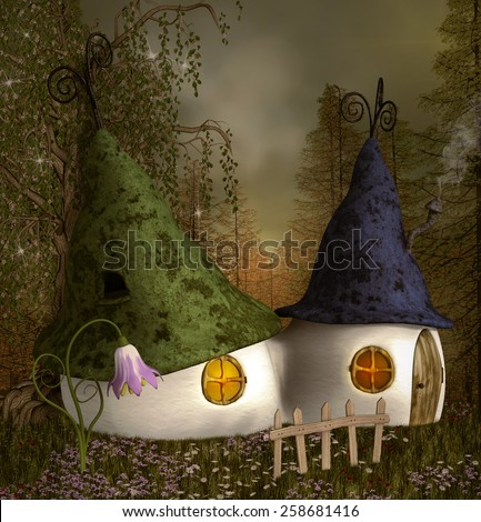 Elves houses  - stock photo