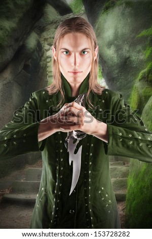 Elvish warrior and protector of the forest. - stock photo