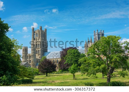 Ely cathedral in rural Cambridgeshire England - stock photo