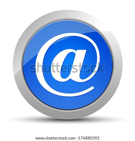 Email address icon blue button - stock photo