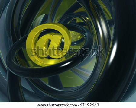 email alias in abstract space - 3d illustration - stock photo