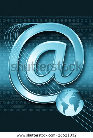 email and globe - stock photo