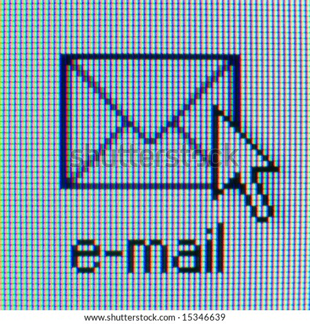 Email check icon on computer screen for web design. Envelope and mouse pointer. - stock photo