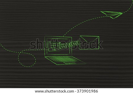 email coming out of laptop screen with a spring and paper airplane flying away - stock photo