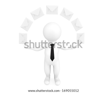Email Concept. 3d person with envelopes on a white background - stock photo