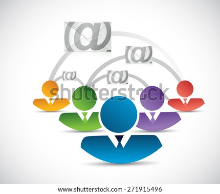 email correspondence people network illustration design over white background - stock photo