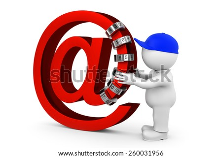 email encrypt with combination lock - stock photo