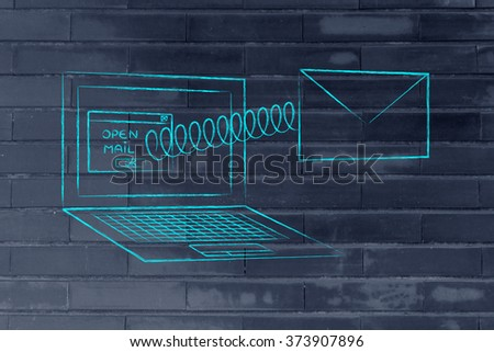 email envelope coming out of laptop screen with a screen