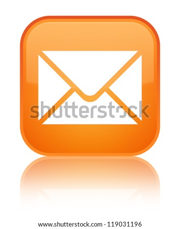 Email icon glossy orange reflected square button - stock photo