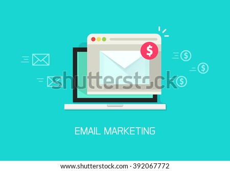 Email marketing illustration concept, laptop computer email with browser window, internet digital letter, communication, flat cartoon banner element design isolated on blue background image - stock photo