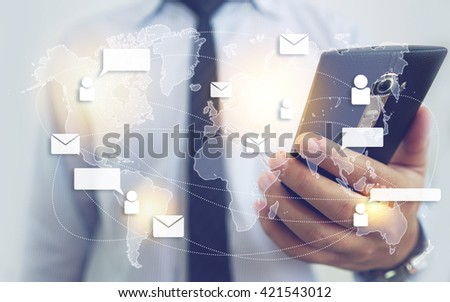 Email Network and Technology - Man Holding Smartphone Background