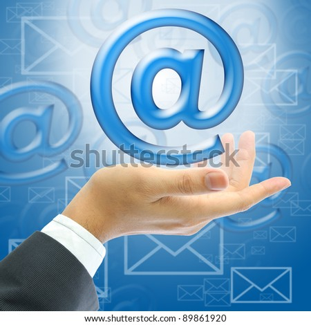 email on businessman hand - stock photo