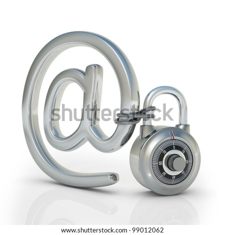 Email protected by a padlock. Concept of protection of electronic information.