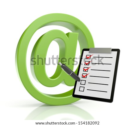 Email sign with clipboard - stock photo