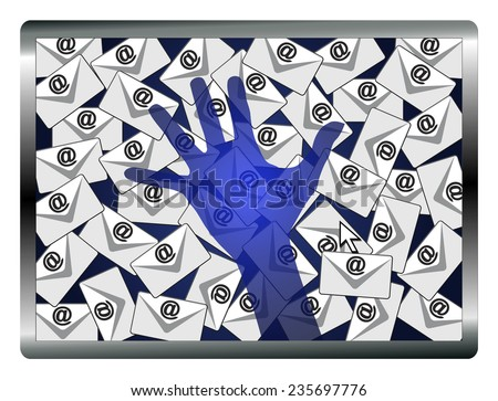 Email Spy. Concept sign of a security system monitoring computers and emails - stock photo