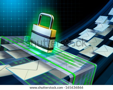 Email stream passing through a security scanner. Digital illustration. - stock photo