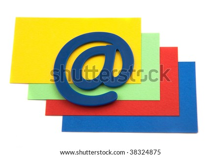 email symbol on a pile of cards - stock photo