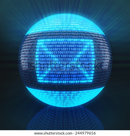 Email symbol on globe formed by binary code, 3d render - stock photo