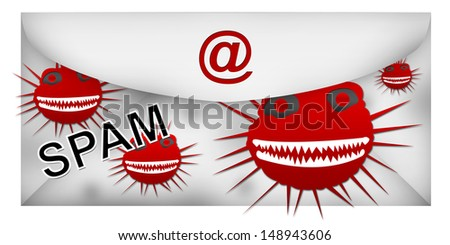 Email With Spam Attach Isolated on White Background  - stock photo