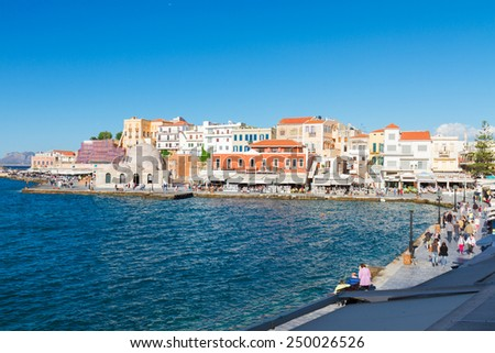 embankment and venetian habour with  Turkish Mosque Yiali Tzami of Chania, Crete, Greece - stock photo