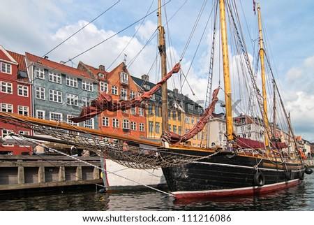Embankment Copenhagen. Tourist place of the old city. Denmark. - stock photo