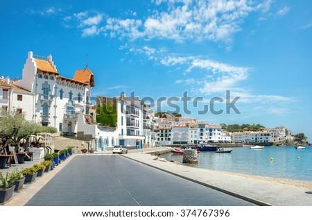 Embankment in Cadaques on Mediterranean seaside, Costa Brava, Catalonia, Spain - stock photo