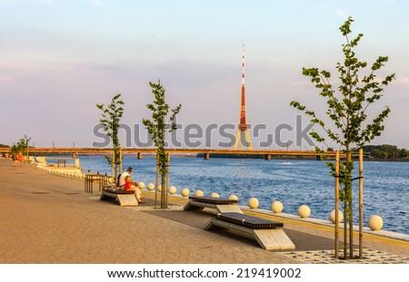 Embankment in Riga, Latvia - stock photo