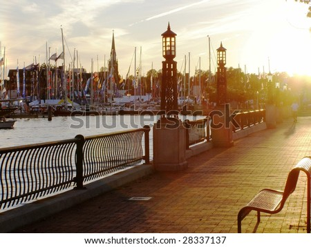 Embankment in the evening - stock photo