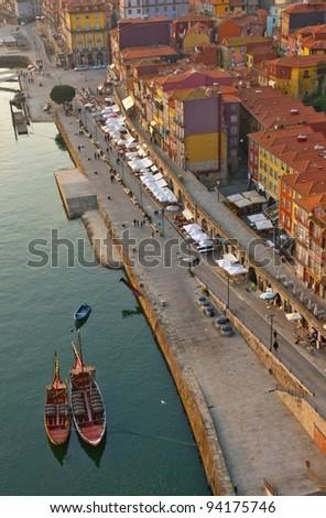 embankment Ribaira in old town of Porto, Portugal - stock photo
