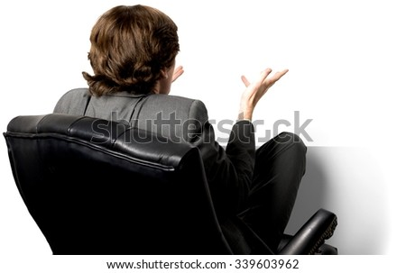 Embarrassed Caucasian man with short dark brown hair in business formal outfit with hands open - Isolated