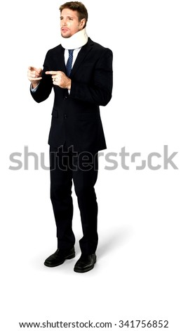 Embarrassed Caucasian man with short medium blond hair in business formal outfit talking with hands - Isolated