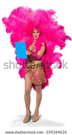 Embarrassed Caucasian young woman in costume holding medium sign - Isolated
