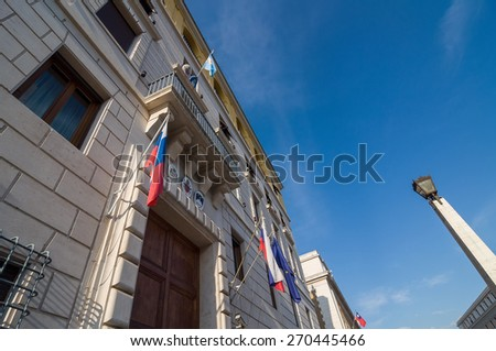 Embassy of Slovenia and Argentina. Exterior with emblems and flags. Via della Conciliazione, Rome, Italy. - stock photo