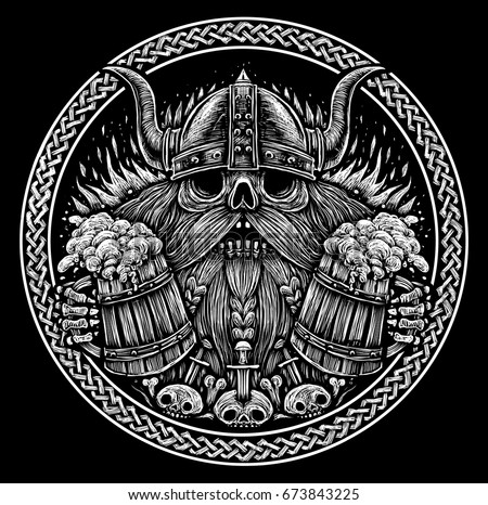 Skull of a viking with beer mugs black and white illustration in