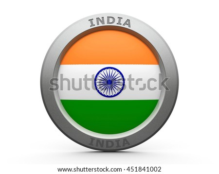 Emblem - Flag of India - isolated on white, three-dimensional rendering, 3D illustration