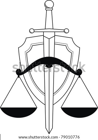 Emblem of justice - shield, sword and scales. Symbol. Isolated illustration (black and white silhouette, contour) on white background. - stock photo