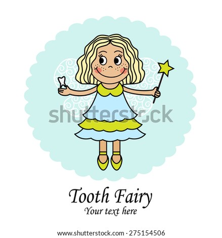 emblem with a little fairy that holds the tooth and the magic wand - stock photo