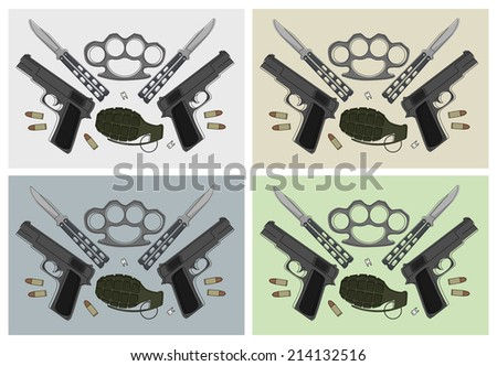 Emblem with pistols, grenade, brass knuckle, butterfly knifes, broken teeth and bullets in different backgrounds - stock photo