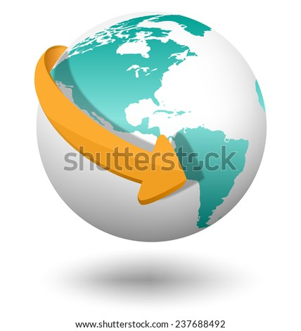 Emblem with white globe and orange arrow isolated on white background - stock photo
