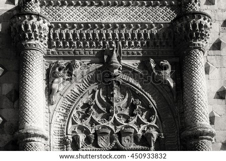 "Emboss of palace ""Palacio del infantado"" XV centuries in Guadalajara, Spain - stock photo"