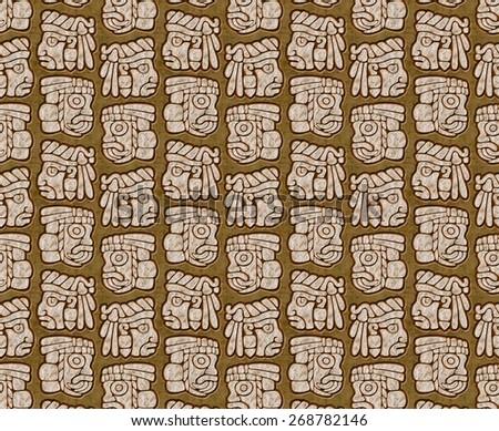 embossed design of mayan glyphs - stock photo